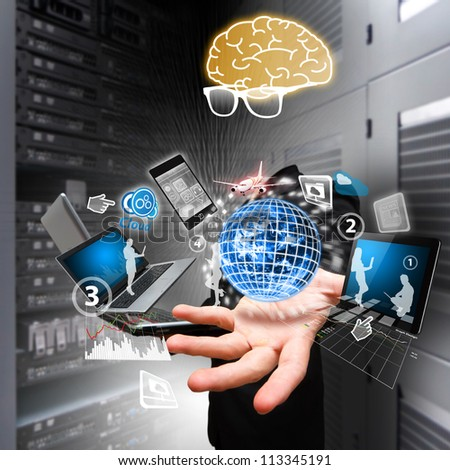 Genius programmer and the world digital control in data center room : Elements of this image furnished by NASA - stock photo