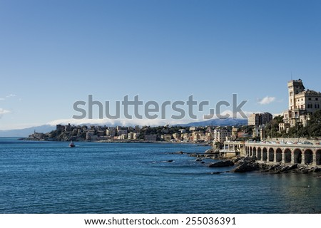 genoa coastal houses cityscape panorama on sunny winter day - stock photo