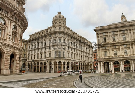 GENOA, ITALY - APRIL 06, 2013:  Piazza de Ferrari - city main square, situated between historical and modern center and is financial and business heart of Genoa, Italy on April 06, 2013. - stock photo