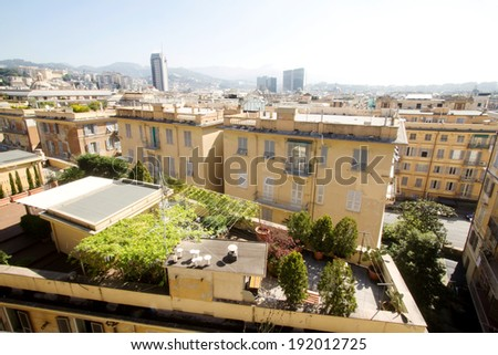 GENOA, ITALY - APRIL 9, 2014: Roof with private garden  in the center of the city