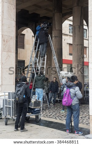 Genoa, Italy January 29, 2016: Piazza De Ferrari, filming of the movie, A better man, film for the Chinese television's. Sun Honglei, star of the television detective series is very popular in China.