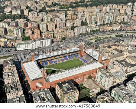 GENOA, ITALY - JULY 12, 2010: The municipal stadium Luigi Ferraris and football field in Genoa, located in the Marassi neighborhood. In the picture, aerial view of the sports facility.