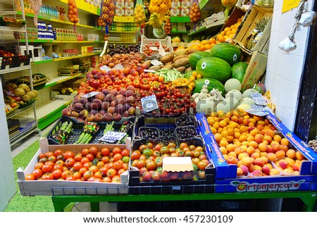 Genoa, Italy - June 2015: Fruit Shop Greengrocery