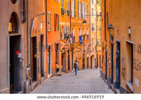 GENOA, ITALY - MAY 4, 2016:  Street of  Genoa, Italy. Genoa is the capital of Liguria and the sixth largest city in Italy