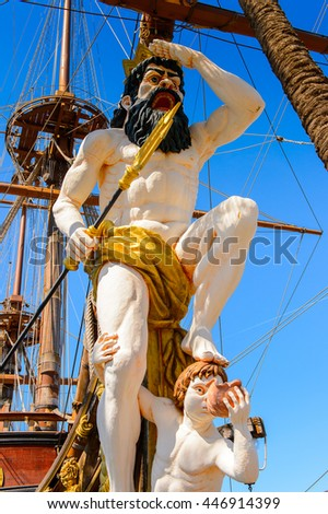 GENOA, ITALY - MAY 4, 2016: Wooden Ship  in the Port of   Genoa, Italy. Genoa is the capital of Liguria and the sixth largest city in Italy