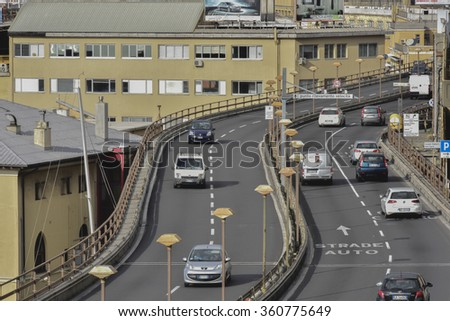 Genoa Italy - November 2015: A moment of city traffic in the street of Genoa