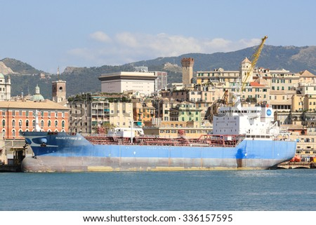 "GENOA, ITALY - September 25, 2015: The tanker ""Marettimo M"" 18 thousand tons in the port of Genoa"