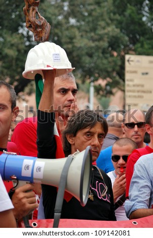 GENOA, ITALY- SEPTEMBER 24 : workers in strike and manifestation against contract of job, September 24, 2010 in Genoa, Italy