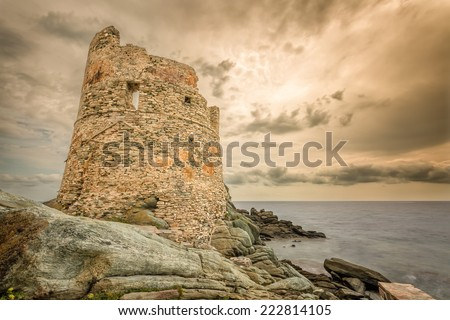 Genoese tower against a dramatic sky at Erbalunga on Cap Corse in northern Corsica