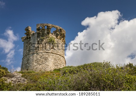 Genoese tower at Farinole on Cap Corse in Corsica