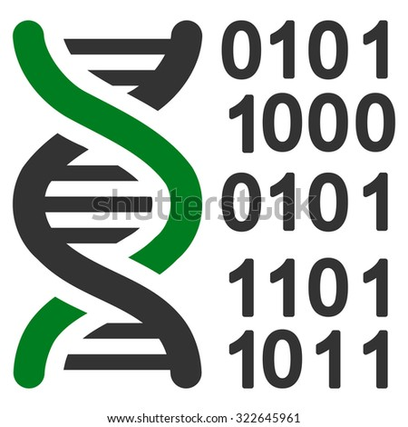Genome Code glyph icon. Style is bicolor flat symbol, green and gray colors, rounded angles, white background.