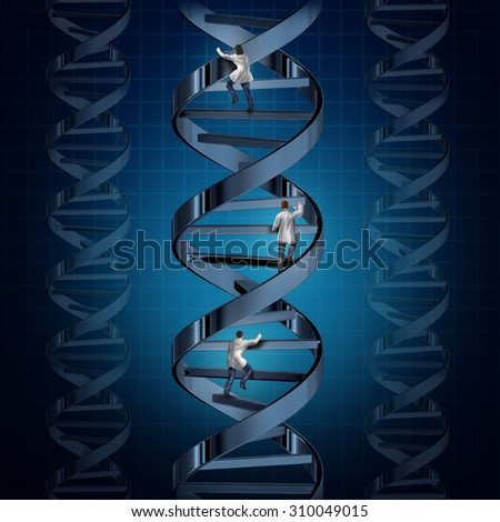Genome medical research and genetic technology discoveries with a group of doctors or scientists climbing a DNA strand to discover a cure for human disease as a symbol of  medicine and biotechnology. - stock photo