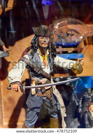 GENOVA, ITALY - MAY 4, 2016: Johnny Depp as Jack Sparrow, Pirates of the Caribbean, International cinema museum in Genova, Italy. Museum with collections about the popular Hollywood movies.