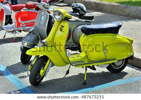 Genova, Liguria, Italy - September 18, 2016: Oktoberfest in Victory Square in Genoa, the first edition of motorsport meeting HBier rally. Lambretta X 150 Special, Apple green lammy