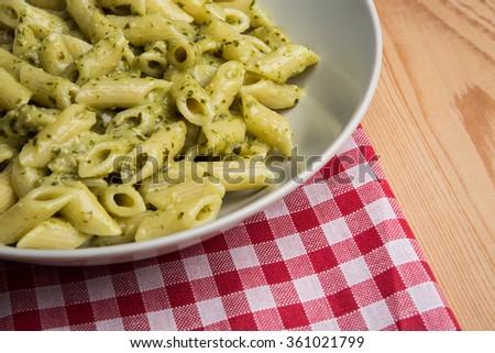 Genovese pesto sauce penne pasta - stock photo