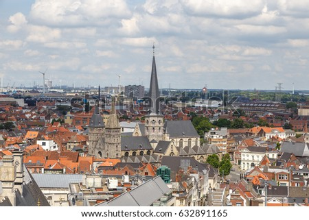 GENT, BELGIUM - JULY 6, 2016 : Panoramical aerial landscape view of Gent from tower in Belgium.