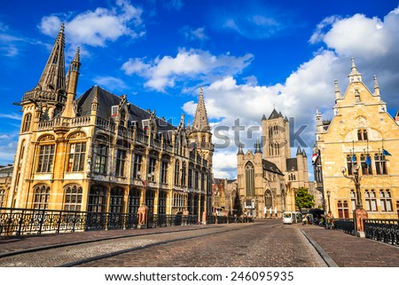 Gent, Belgium, Medieval city of Ghent in Flanders with Saint Nicholas Church and Belfry tower, one of famous landmarks of Belgium. - stock photo