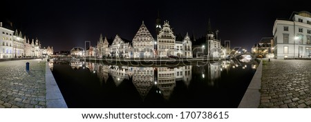 Gent. Belgium. Night panorama.