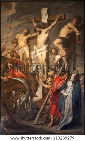GENT - JUNE 23: Christ on the Cross between two Thieves by Pieter Pauwel Rubens (1619 a.d.) in Saint Peter s church on June 23, 2012 in Gent, Belgium. - stock photo