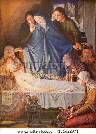 GENT - JUNE 23: Jesus in the tomb. Paint in st. Peter s church on June 23, 2012 in Gent, Belgium. - stock photo