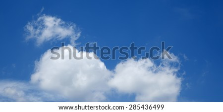 gentle blue sky with white cloud, closeup