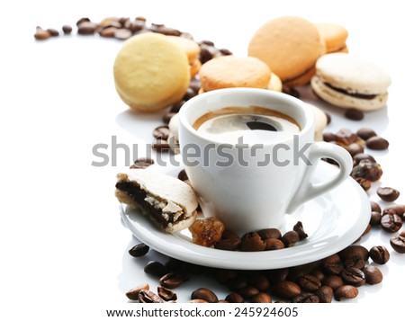 Gentle colorful macaroons and black coffee in mug isolated on white - stock photo