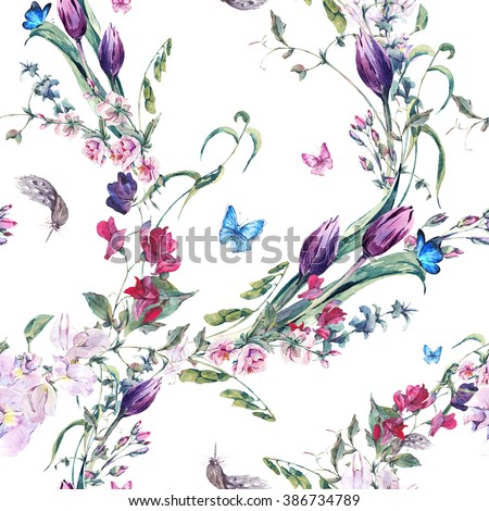 Gentle Floral Vintage Watercolor Seamless Background with Sweet Peas, Tulips and Butterflies Background, flowers botanical illustration - stock photo