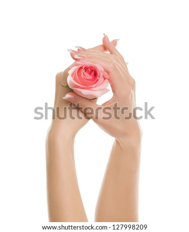 Gentle hands with a beautiful manicure - stock photo