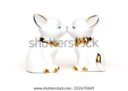 Gentle kiss dogs - stock photo