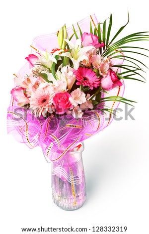 gentle pink and white spring flowers. Bouquet with red rose, alstroemeria, lily and gerberas isolated on white background - stock photo
