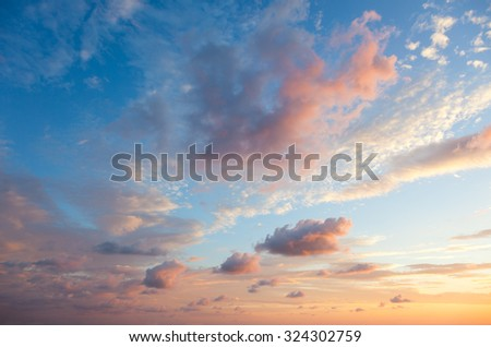 Gentle Sky Background at Sunset time, natural colors, may use for wallpaper - stock photo