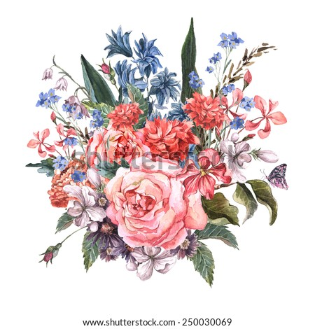 Gentle Spring Floral Bouquet  with roses, hyacinths,butterfly and wild flowers in vintage style, Vintage Greeting Card, watercolor illustration. - stock photo