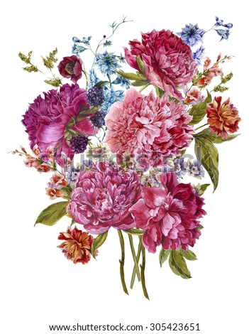 Gentle Summer Floral Bouquet with Burgundy Peonies, Hyacinths, Blackberry and Wild Flowers in Vintage Style, Botanical Greeting Card, Watercolor illustration on white Background