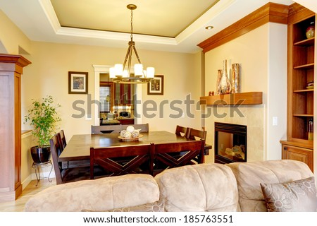 Gentle tones dining room with fireplace. View of classic wooden table set. Room decorated with green plant and shiny vases
