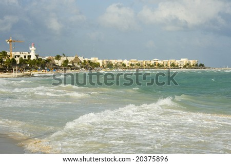 Gentle Waves Hit White Sand on the Beach Front, Playa Del Carmen, Quintana Roo, Mexico 2007 NR