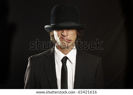 gentleman funny face expression - stock photo