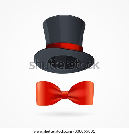 Gentleman Man Sign. Bow Tie and Hat. illustration - stock photo