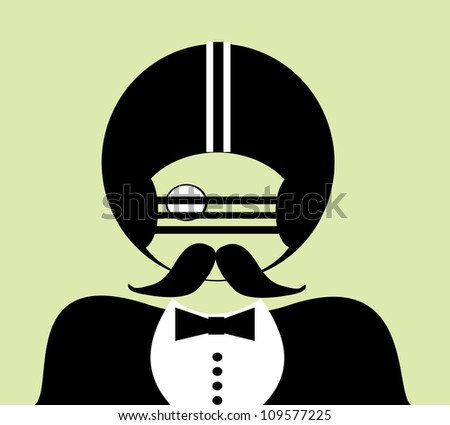 gentleman with monocle and tuxedo wearing american football gear - stock photo