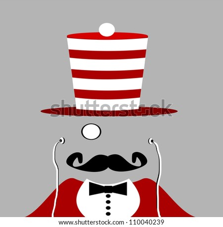 gentleman with red suit and handlebar mustache wearing monocle and earphones - stock photo