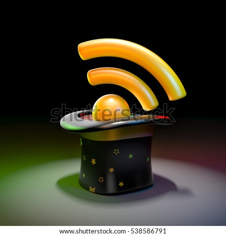 Gentlemen hat with wifi symbol. 3d illustration