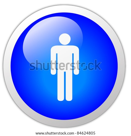Gents Icon Button - stock photo