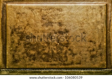 Genuine antique leather book cover texture - stock photo