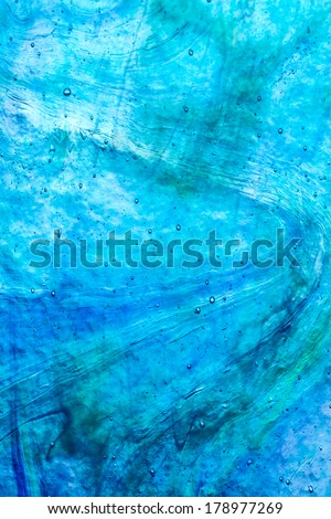 Genuine antique stained glass background blue - stock photo