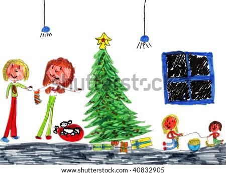 Genuine Christmas Kid Art Drawn by a Genuine Kid! - stock photo