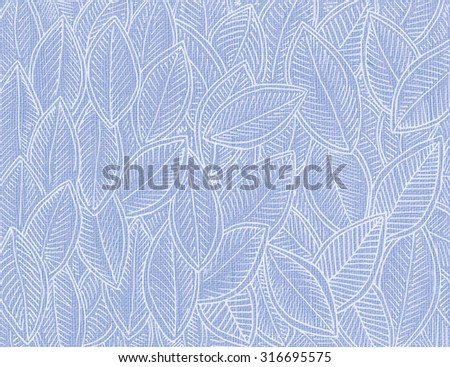Genuine cotton linen cloth light blue coulor with autumn leaves pattern - stock photo