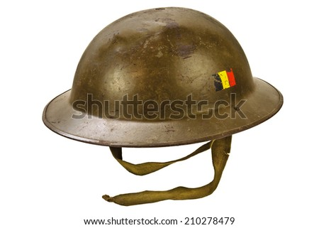Genuine German World War One helmet isolated on a white background - stock photo