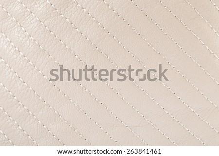 Genuine leather. Cream. - stock photo