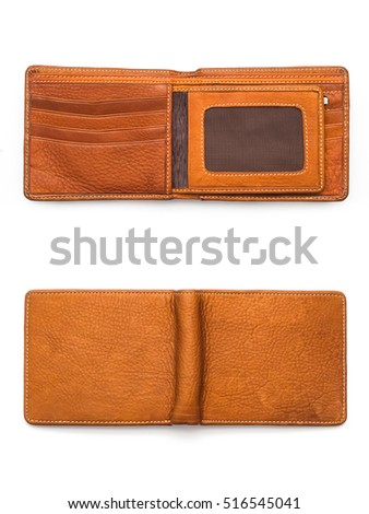genuine leather wallet brown color, double side of brown color genuine leather wallet isolated white background.