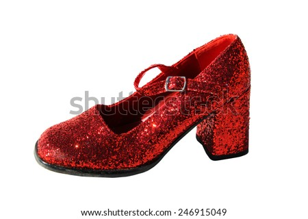 Genuine Ruby Red Slippers Isolated on white with room for your text. Ruby Red Slippers are popular with young girls in Kansas who travel to exotic far away lands and meet interesting people. - stock photo
