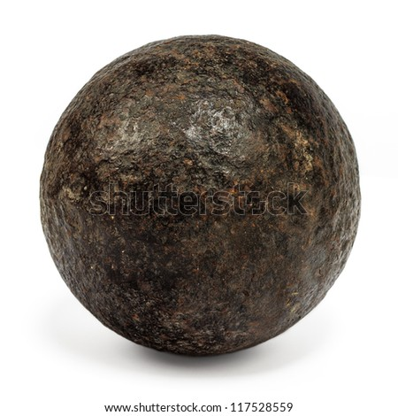 Genuine 18th century cannonball isolated on a white background - stock photo